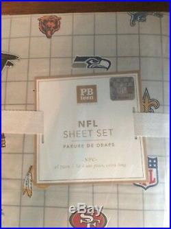 $129 Pottery Barn Sheet set TWIN XL dorm NFL NFC football bed sport ball team np