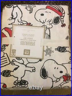 $139 Peanuts Snoopy TWIN Pottery Barn kids Sheet set Holiday Christmas Santa nip