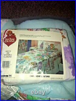 1985 CARE BEAR Cousins 4 piece Twin Bedding COMFORTER & twin sheet set rare find