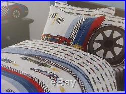 2 pc Boy Zone Race Cars Twin Quilt & Sham Set NIP