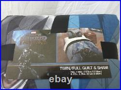 2 pc Jay Franco Marvel Black Panther Wakanda Twin / Full Quilt & Sham Set NIP