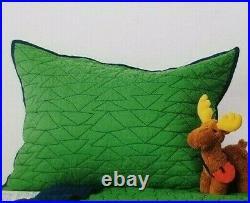 2 pc Pillowfort Twin Green Triangle Stitch Quilt & Sham Set NIP