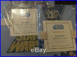 2Pc Pottery Barn Kids Organic Star Wars Han Solo Twin Duvet & Standard Sham NEW