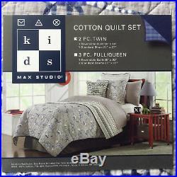 2pc Kids DINOSAUR T-Rex TWIN QUILT SHAM Gray Blue boy BRONTO TRICERATOPS Cotton