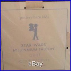 2pc POTTERY BARN KIDS Star Wars Millennium Falcon Twin Quilt Standard Sham NEW