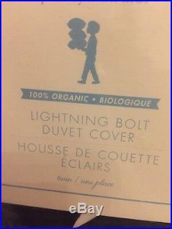 2pc Pottery Barn Kids Navy Lightning Bolt Organic Twin Duvet Cover&Standard Sham