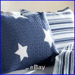 2pc STAR NAVY QUILT SET Twin Kids Bedding Patriotic Reversible Stripe White USA
