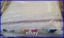 2pc Set Pottery Barn Teen Emma Tassel Quilt Twin/Twin XL Std Sham Multicolor
