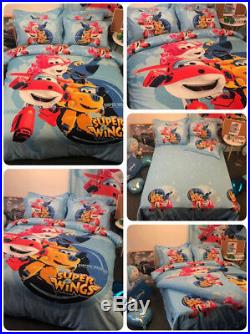 3/4Pcs Super Wings Duvet Cover Bedding Set Boys Girls Flat/Fitted Bed Sheet Sets
