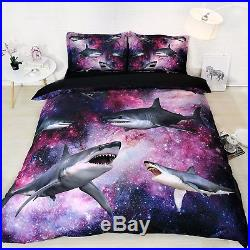 3D Shark Boys Bed Linen Pillowcase Comforter Bedding Black Duvet Cover Set Twin