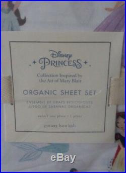 3Pc Pottery Barn Kids DISNEY PRINCESS Organic Twin Sheet Set NEW