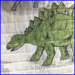 3pc Max Studio Dinosaur FULL QUEEN Quilt Pillow Sham Set Gray Blue Green Boy NEW