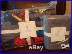 3pc POTTERY BARN KIDS Spiderman Cityscape Twin Quilt Euro Standard Shams NWT