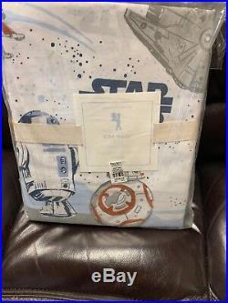 3pc Pottery Barn Kids PBK Star Wars Droid Twin Size Organic Cotton Sheet Set New