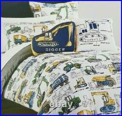4 pc Boy Zone Construction Twin Comforter, Sham & Decorative Pillows Set NIP