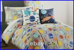 4 pc Boy Zone Exploring Space Twin Comforter, Sham & Decorative Pillows Set NIP