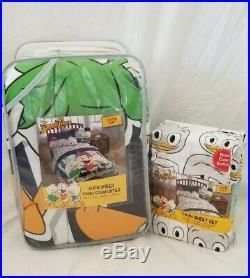 4 pc Disney DuckTales Comforter, Sheets, & Plush Decorative Pillow Set NIP