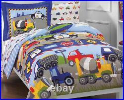 5 Piece- CARS & TRUCKS Reversible Comforter + Sham + Sheet Set Construction TWIN