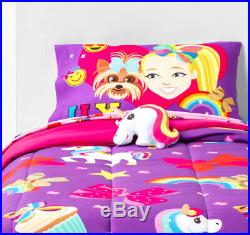5 Pieces JOJO Siwa Reversible Comforter + SHEET Set + Unicorn Pillow NEW