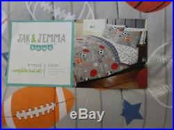 5 pc Jak + Jemma Sports Complete Twin Comforter, Sham, & Sheet Set NIP