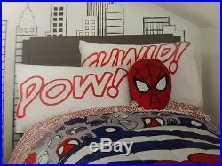 5 pc Marvel Spider-man POW! Twin Comforter, Throw, Decorative Pillows Set NIP