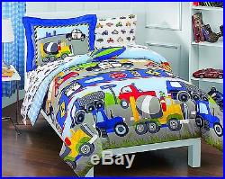 5 pc TRUCKS CARS PLANES POLICE COMFORTER CONSTRUCTION BOYS QUILT SET TWIN NEW