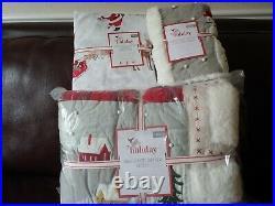 5pc POTTERY BARN KIDS Heritage Santa Quilt Euro Sham Twin sheet Christmas NEW