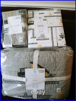 5pc Pottery Barn Kids ETHAN Construction Twin Quilt Standard Sham Sheet Set Gray