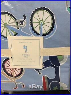 5pc Pottery barn kids Bicycle Velo Duvet Cover sham Sheet twin Blue Navy Red