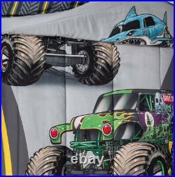 6 Pieces MONSTER JAM Comforter + Sheet Set + Blanket + Truck Pillow Buddy -TWIN