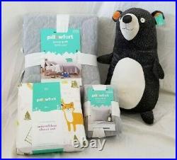 6 pc Pillowfort Woodland Whimsey Twin Quilt, Sham, Sheet & Bear Pillow Set NIP