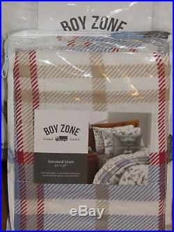 6PC BOY ZONE PLAID/DOGS Boy's Kid's Reversible TWIN QUILT, SHAM, SHEETS & PILLOW