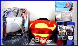 7 pc- Justice League COMFORTER + SHEETS + BLANKET + Superman Batman Pillows TWIN