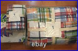 7pc Pottery Barn Kids NEW Madras Quilt, Sham& Bermuda Fish Sheet Set Multi Color