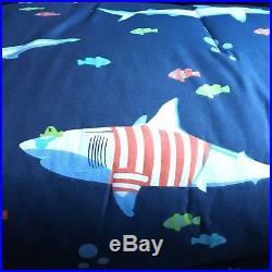 7pc Shark TWIN Comforter Sheet Set Ocean Nautical Blue Designer Max Studio NEW