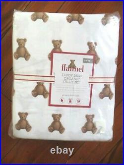 $87 Pottery Barn kid Organic TWIN SHEET SET Teddy Bear FLANNEL Christmas Holiday
