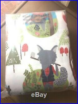 $98 Garnet Hill kid Flannel Duvet Cover animal TWIN fall winter blanket gift NEW