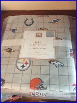 $99 Pottery Barn Sheet set TWIN XL dorm NFL AFC football bed sport ball team np