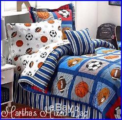 ALL SPORTS Boys Bedding Football Basketball Soccer Balls Baseball Comforter Set