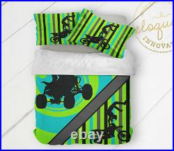 ATV Comforter Dirt Bike Bedroom Decor, Motocross Gift Bedding, Boys Teen Bike