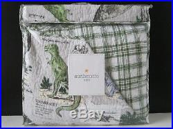 AUTHENTIC KIDS Boys Girls DINOSAURS 2pc TWIN QUILT SET Blue Green Gray PLAID NEW