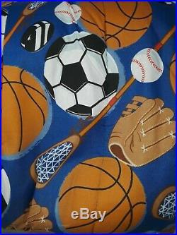 All Star Sports Kids Twin Size Bedding Comforter Set for Boy Football Basketball