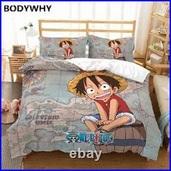 Anime Bedding Set Luffy Print Duvet Cover Set Boys Girl Single Double Bed Cover