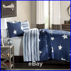 BLUE & WHITE STAR Twin Single QUILT SET COTTON STRIPE COUNTRY CABIN BOYS BED