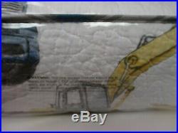 BOY ZONE Kids Boys CONSTRUCTION EQUIPMENT White Blue 2pc Quilt Sham Set Twin