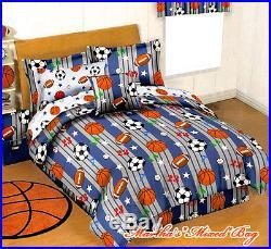 BOYS Blue Gray SPORTS BASEBALL BASKETBALLFOOTBALLSOCCER COMFORTER SET+SHEETS