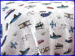 BOYS Reversible 2pc TWIN Quilt SET Blue Green Red Gray Orange AIRPLANES NEW