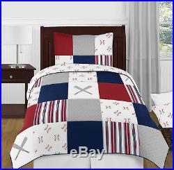 Baseball Sports Red White Blue Boy Twin Kid Childrens Bedding Set by Sweet Jojo