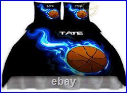 Basketball Duvet Cover Set for Girls or Boys, Basketball Bedding Personalized