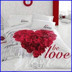 Be Love Floral Romantic Bedding Duvet Cover Set, 100% Cotton, Single Twin, 3 Pcs